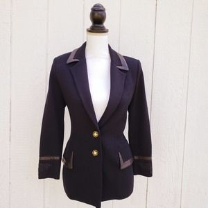 St. John Collection Marie Gray Leather Blazer